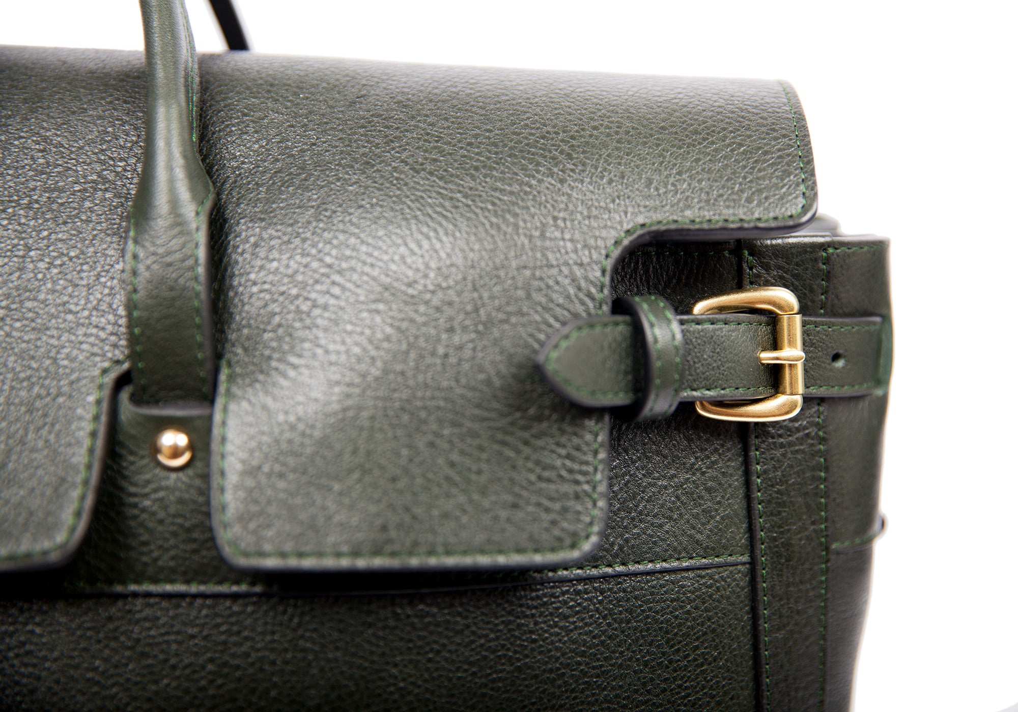 Leather Strap and Buckle of Leather Day Tote Green