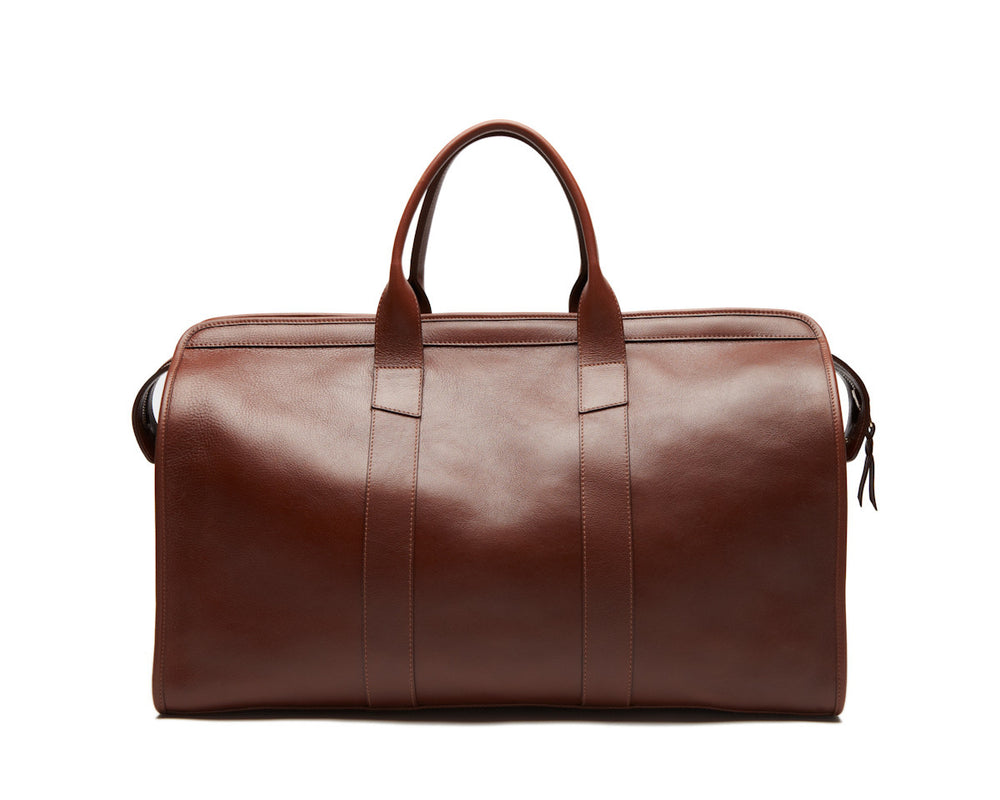 Front View of Leather Duffle Travel Bag Chestnut