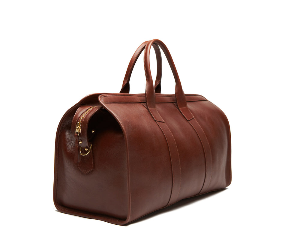 Side View of Leather Duffle Travel Bag Chestnut