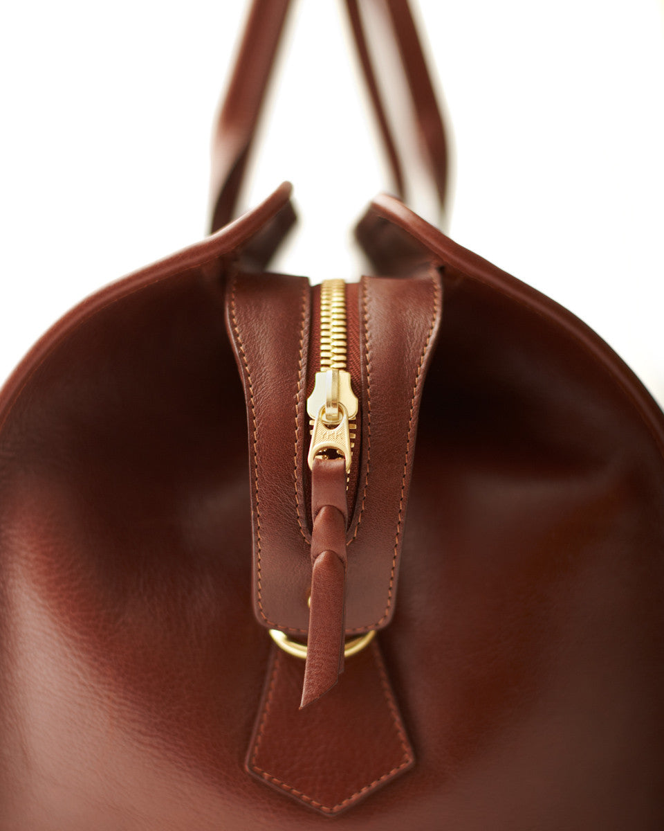 Side Zipper View of Leather Duffle Travel Bag Chestnut