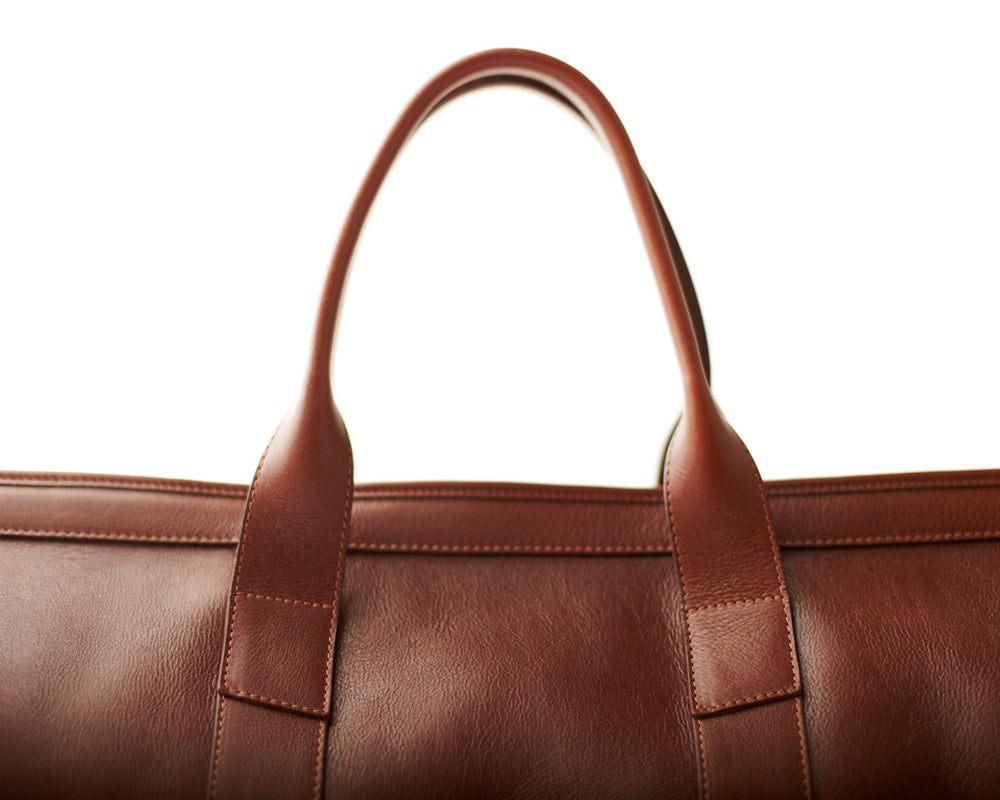 Top Leather Handle of Leather Duffle Travel Bag Chestnut