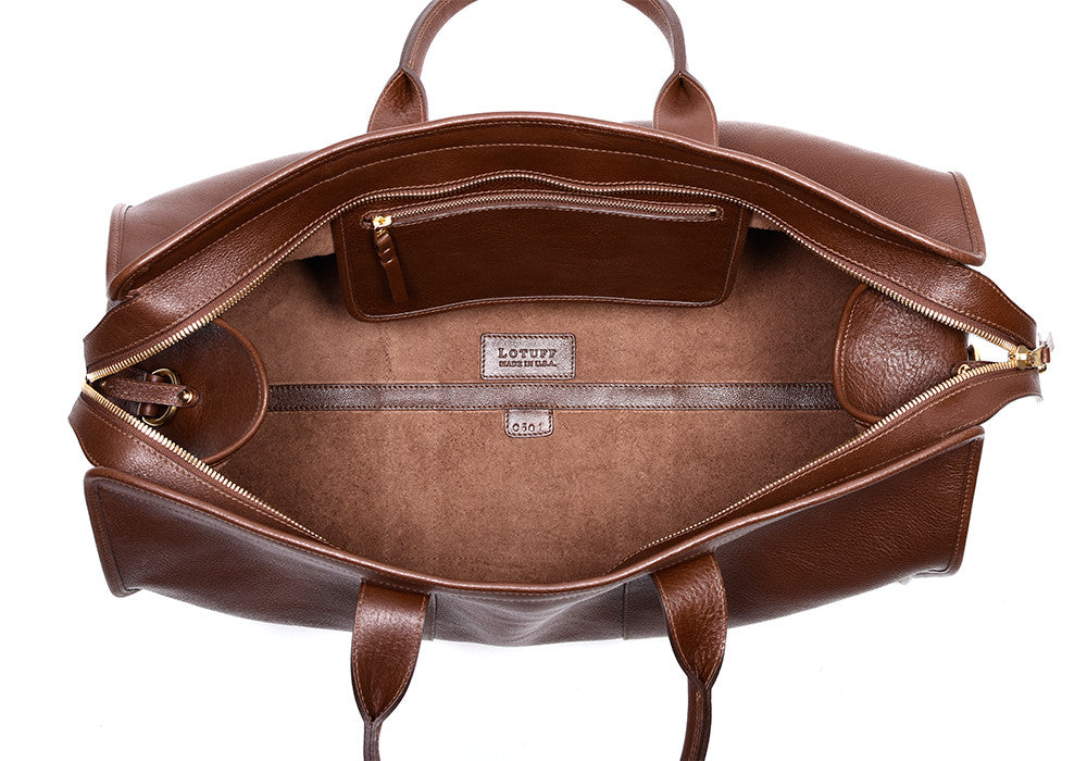 Inner Leather View of Leather Duffle Travel Bag Chestnut