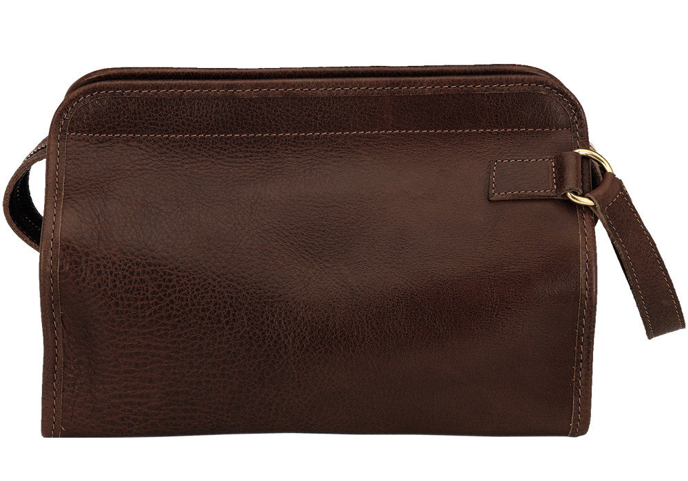 Front Leather View of Leather Dopp Kit Chocolate