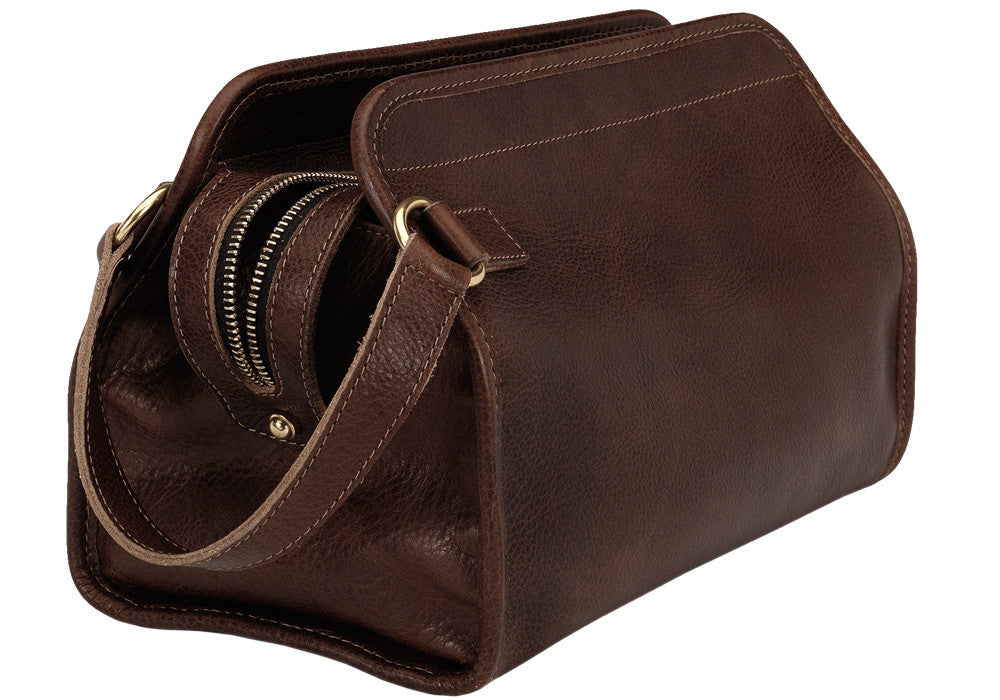 Side Leather View of Leather Dopp Kit Chocolate