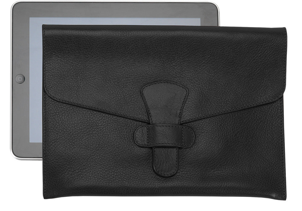 Front Leather View of Leather iPad Case Black