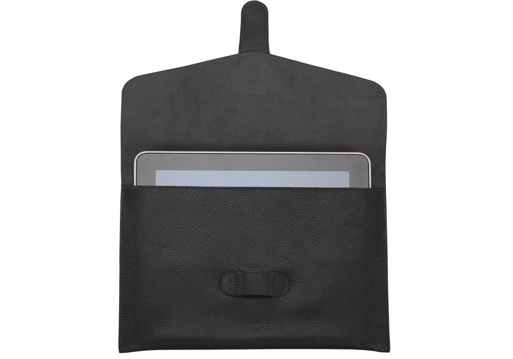 Front Open View of Leather iPad Case Black