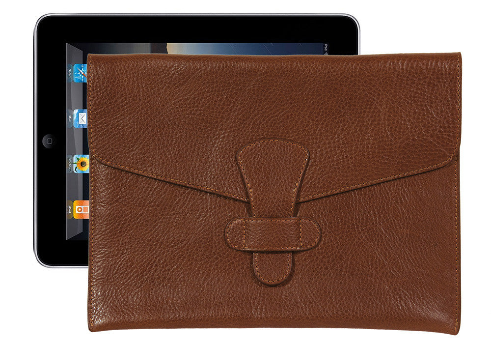Front Leather View of Leather iPad Case Chestnut