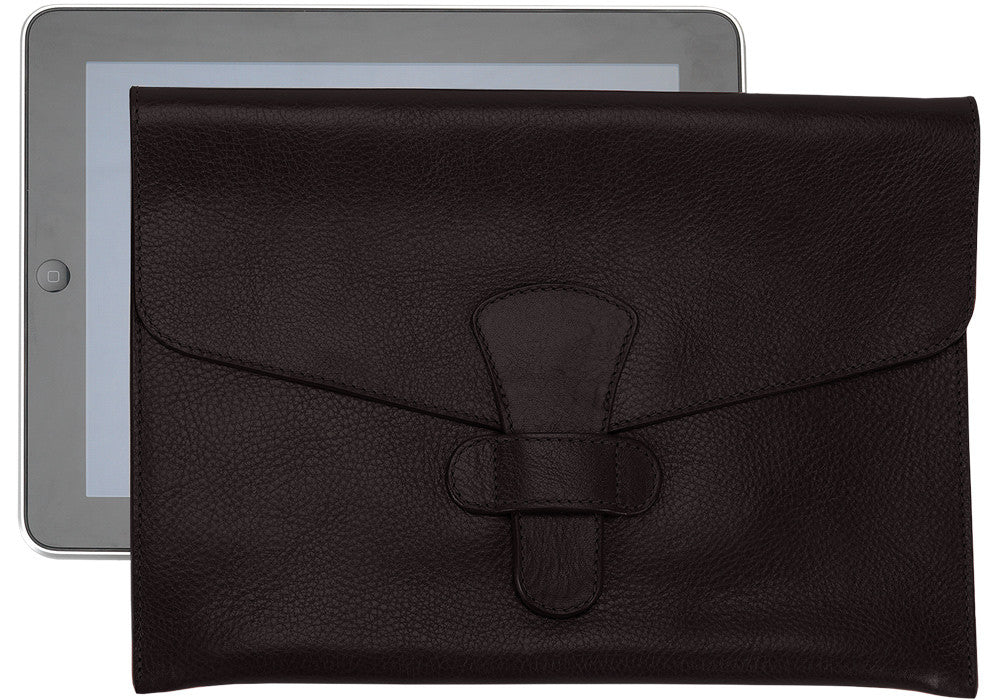 Front View of Leather iPad Case Chocolate