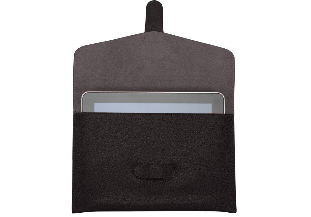 Open Front View of Leather iPad Case Chocolate