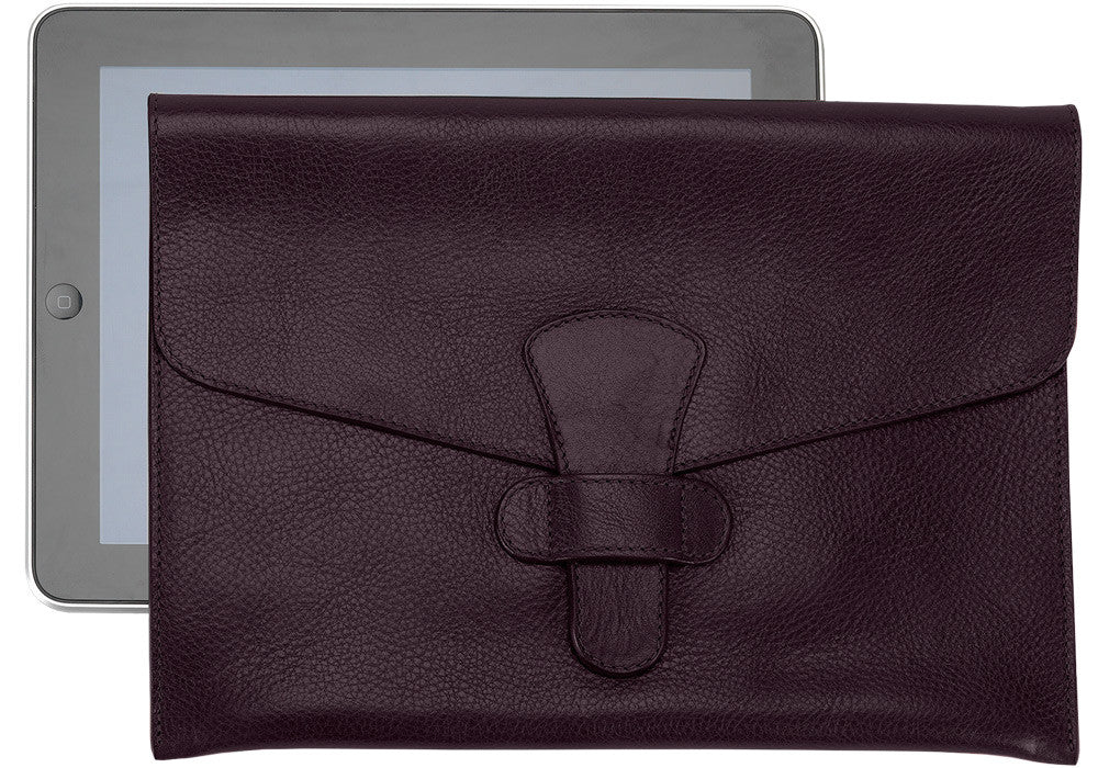 Front Leather View of Leather iPad Case Cordovan