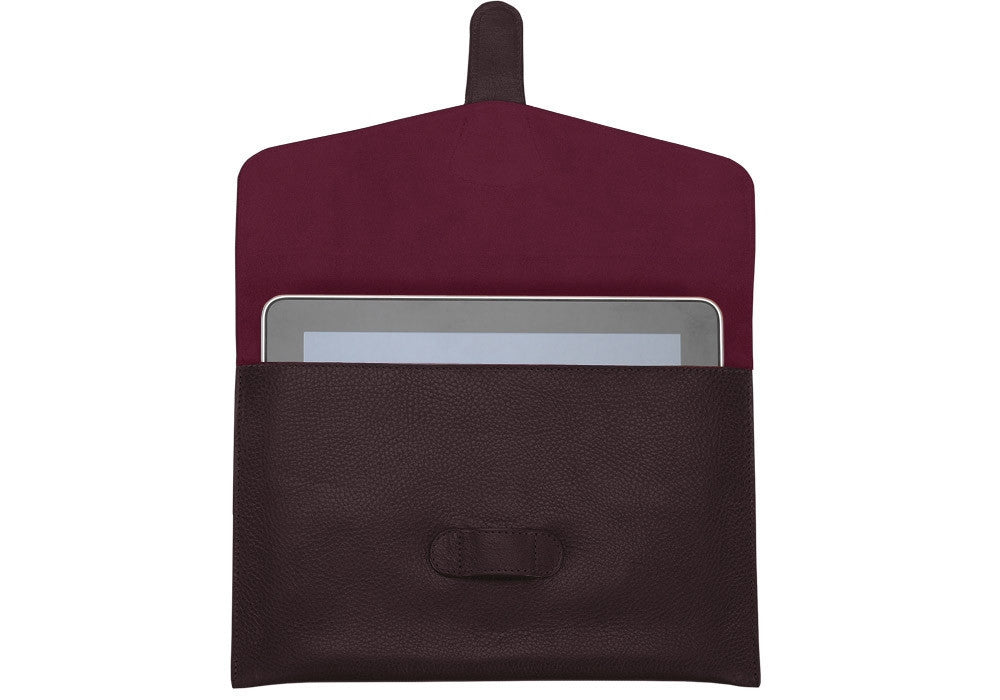 Front Open View of Leather iPad Case Cordovan