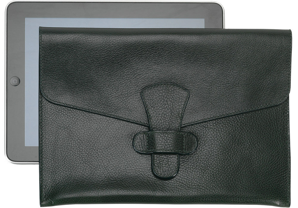 Front Leather View of Leather iPad Case Green