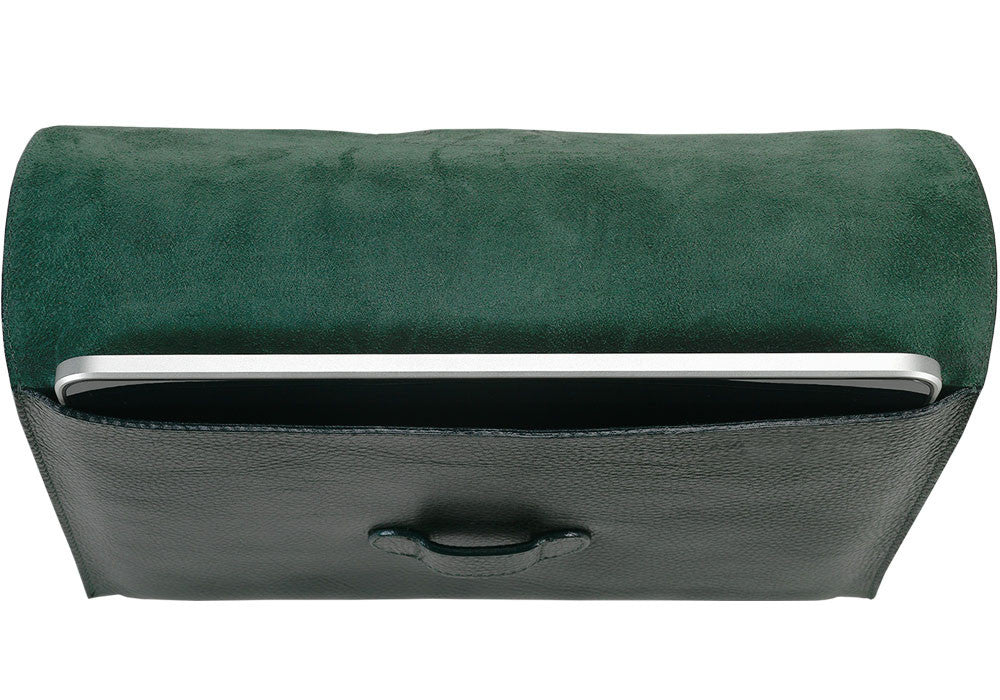 Front Top Down View of Leather iPad Case Green