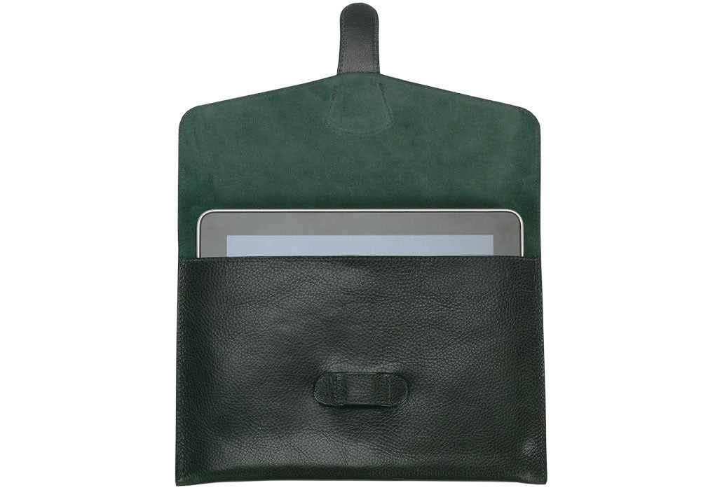 Front Open View of Leather iPad Case Green