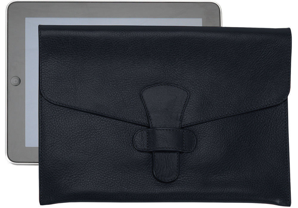 Front Leather View of Leather iPad Case Navy