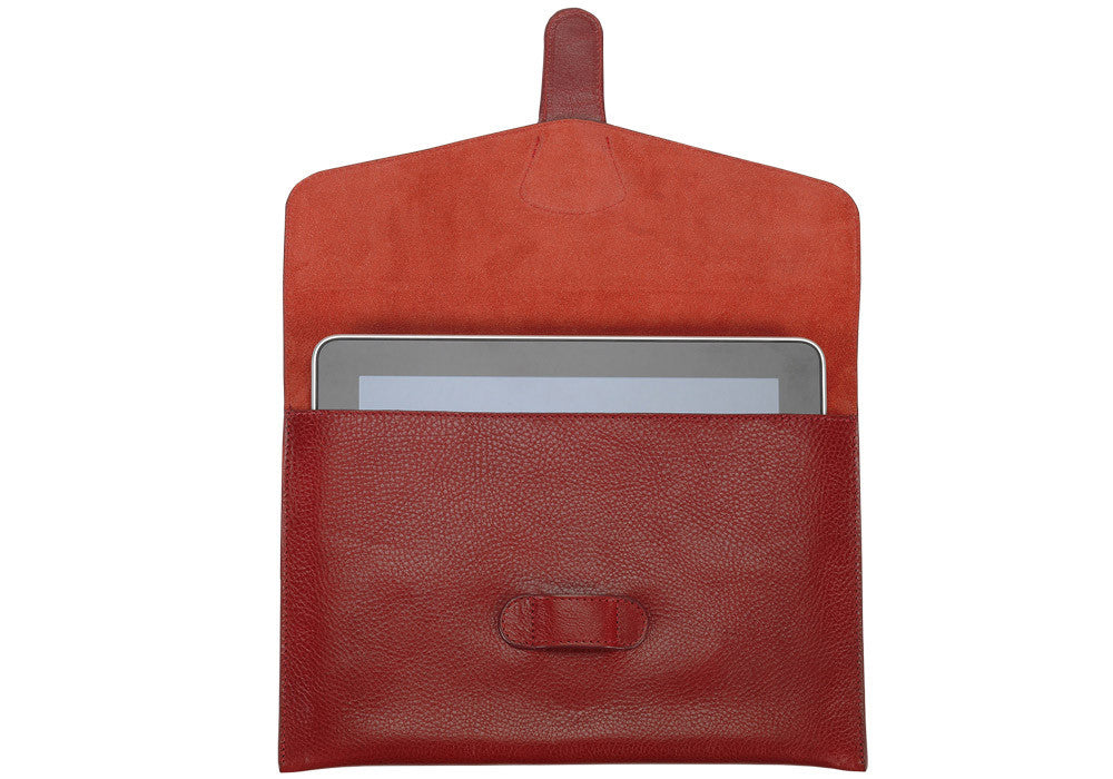 Front Open Leather View of Leather iPad Case Red