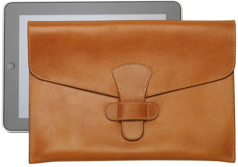 Front Leather View of Leather iPad Case Tan