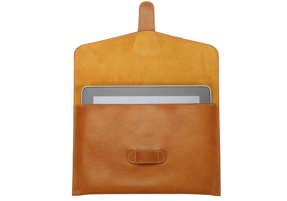 Front Open View of Leather iPad Case Tan