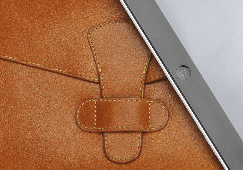 Close Up View of Leather iPad Case Tan