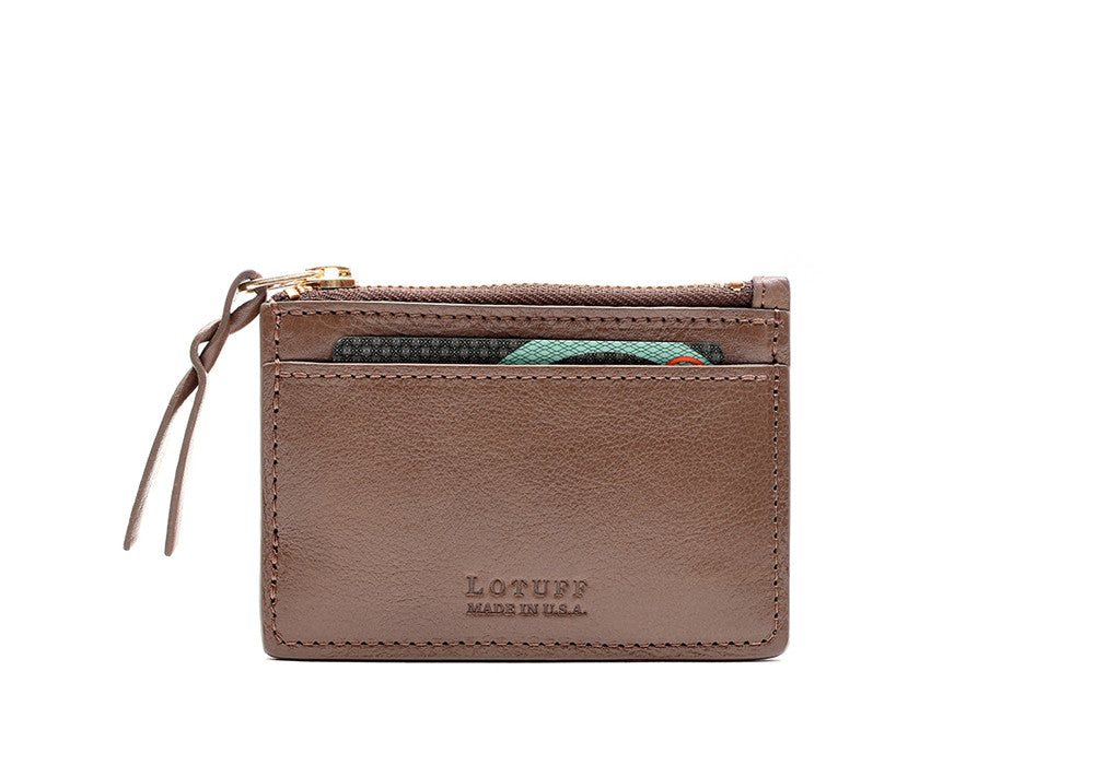 Front View of Zipper Credit Card Wallet Clay