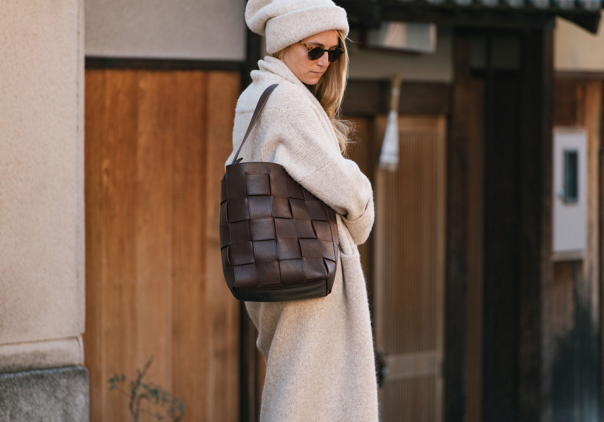Woven Leather Bucket Shoulder Bag Lifestyle