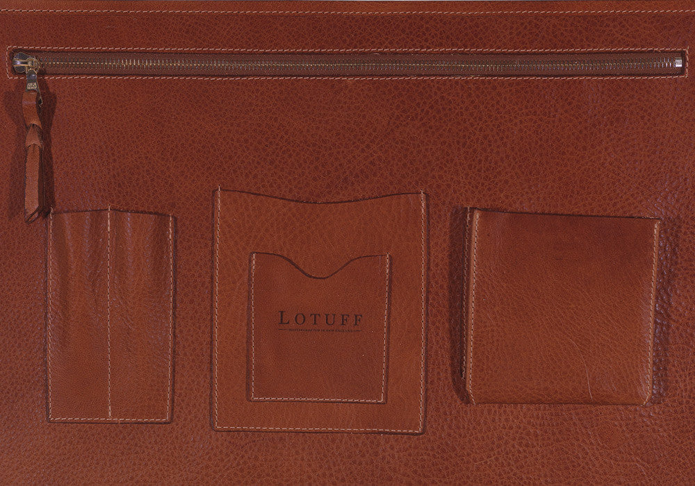 Inner Leather Pocket of Leather Lock Briefcase Chestnut
