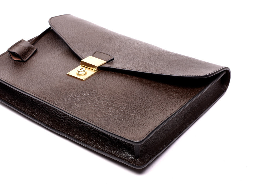 Front Lock of Lock-and-Key Document Case Chocolate