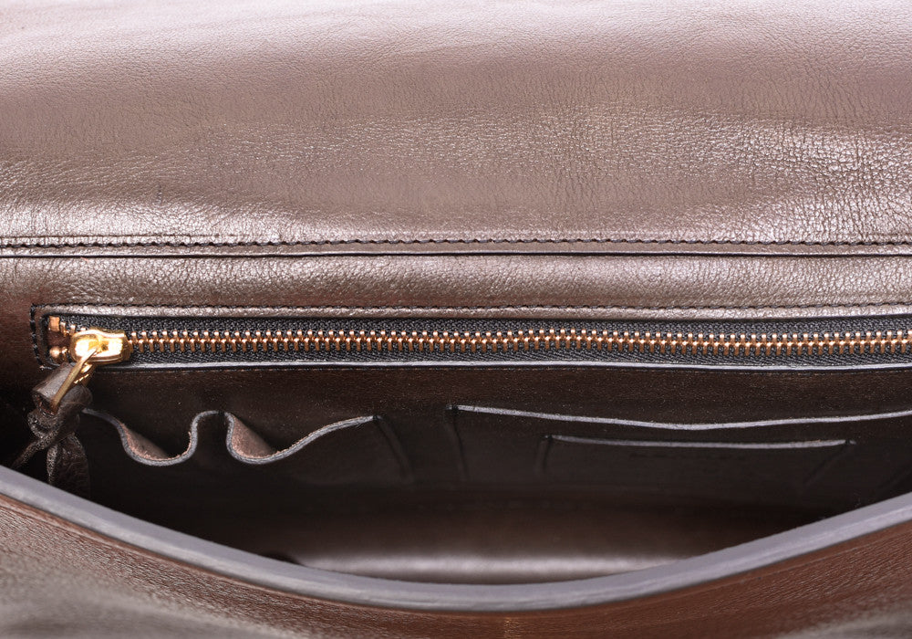 Inner Leather View of Lock-and-Key Document Case Chocolate
