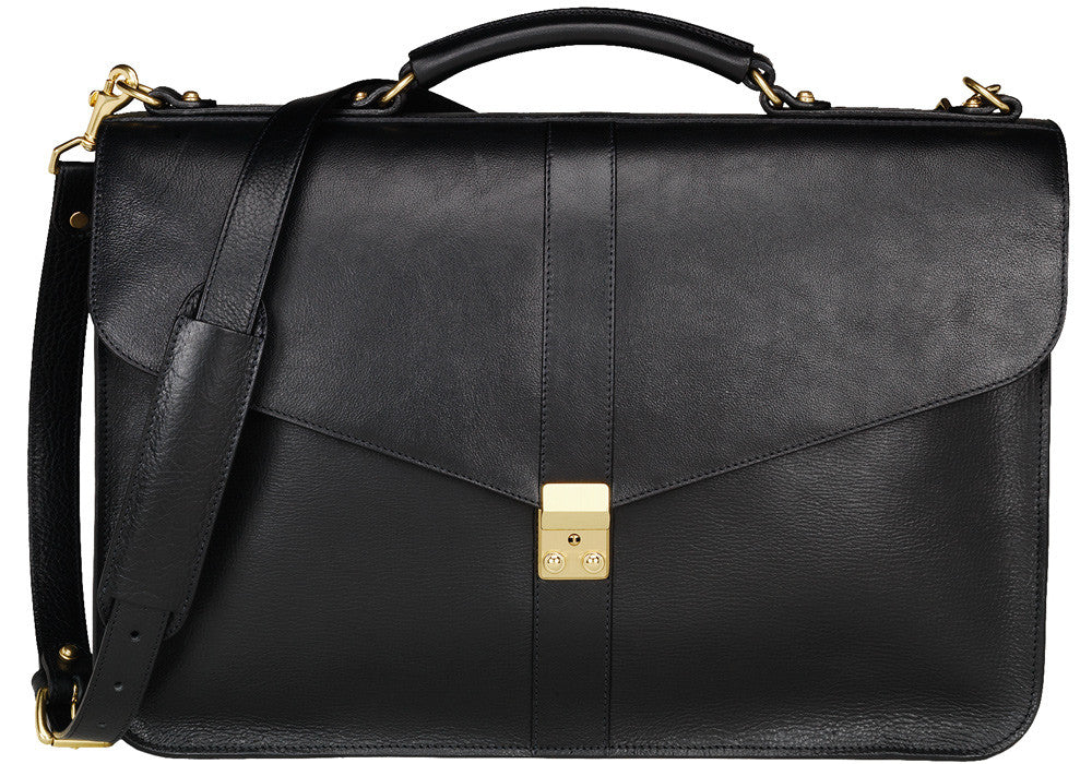 Front Leather View of Leather Lock Briefcase Black