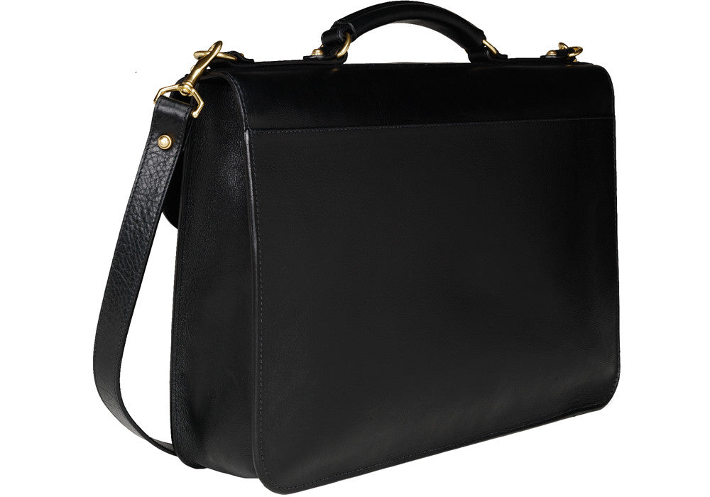 Back Leather View of Leather Lock Briefcase Black