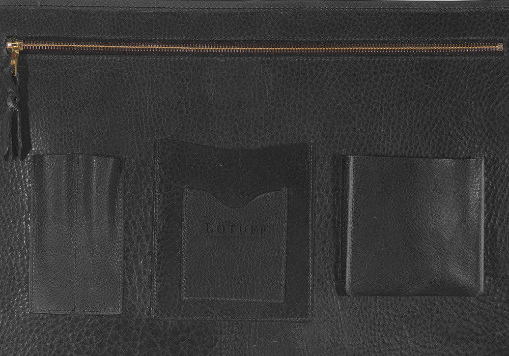 Inner Leather Pocket of Leather Lock Briefcase Black