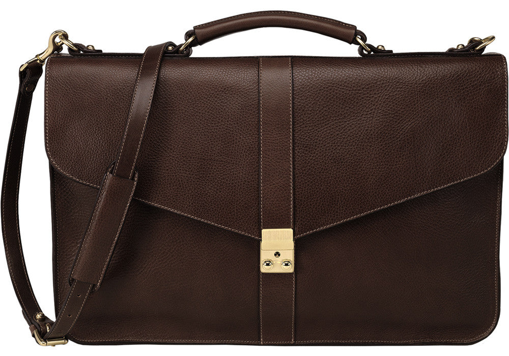 Front Leather View of Leather Lock Briefcase Chocolate