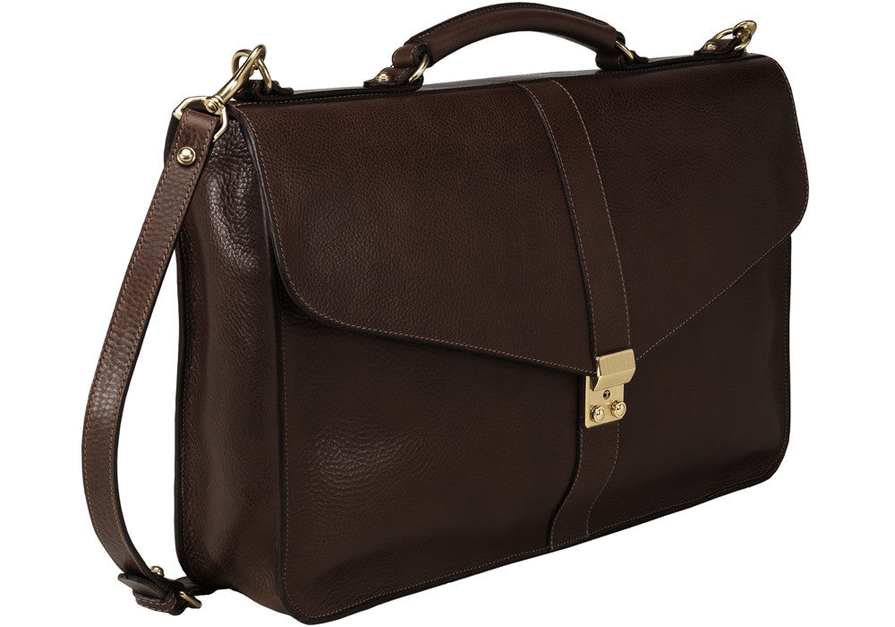 Front Side View of Leather Lock Briefcase Chocolate