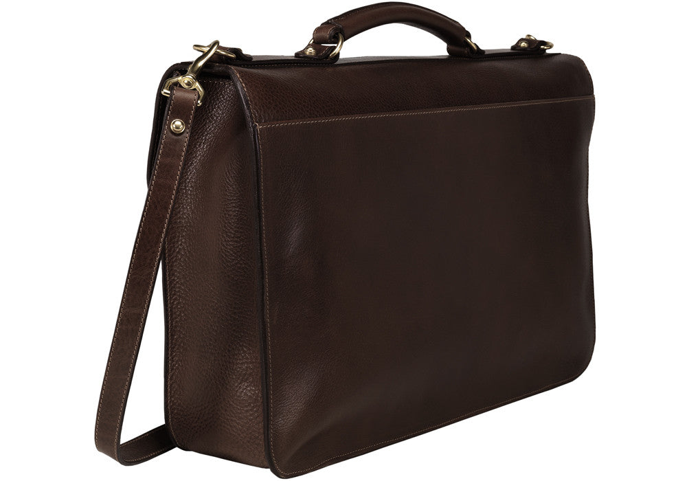 Back Side Leather View of Leather Lock Briefcase Chocolate