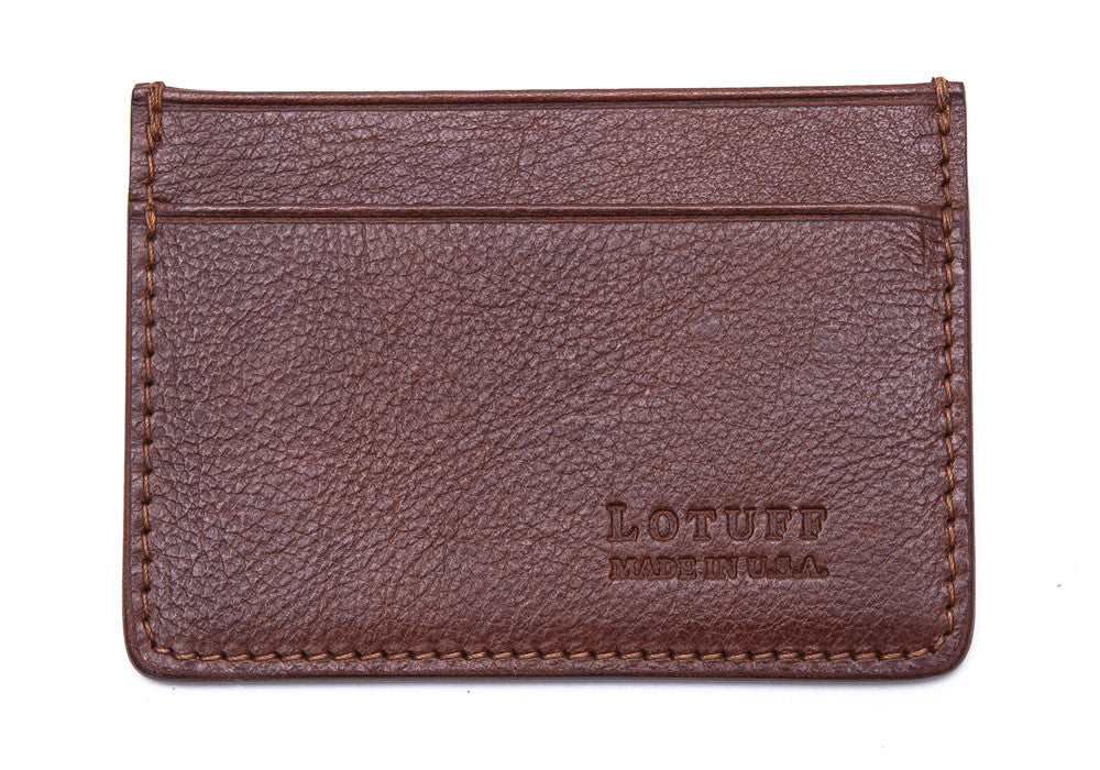 Front View of Leather Credit Card Wallet Chestnut