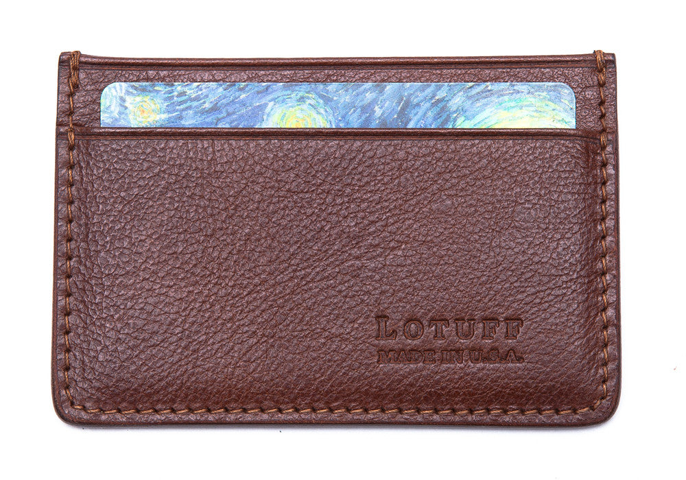 Front View Full of Leather Credit Card Wallet Chestnut