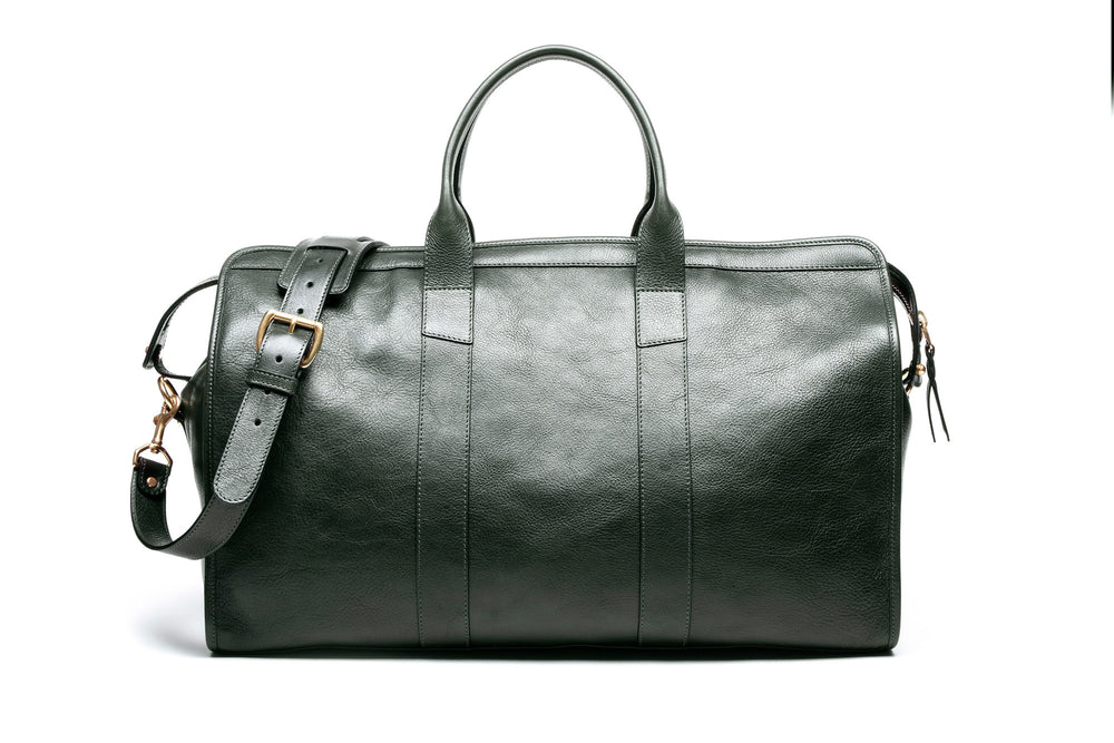 Front View of Leather Duffle Travel Bag Green