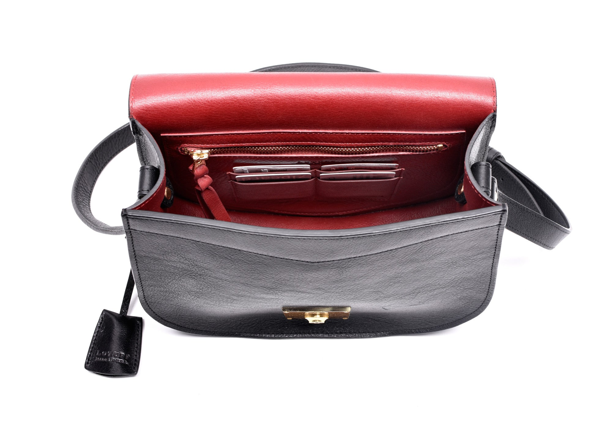 Front View of Arc Shoulder Bag Black-Red