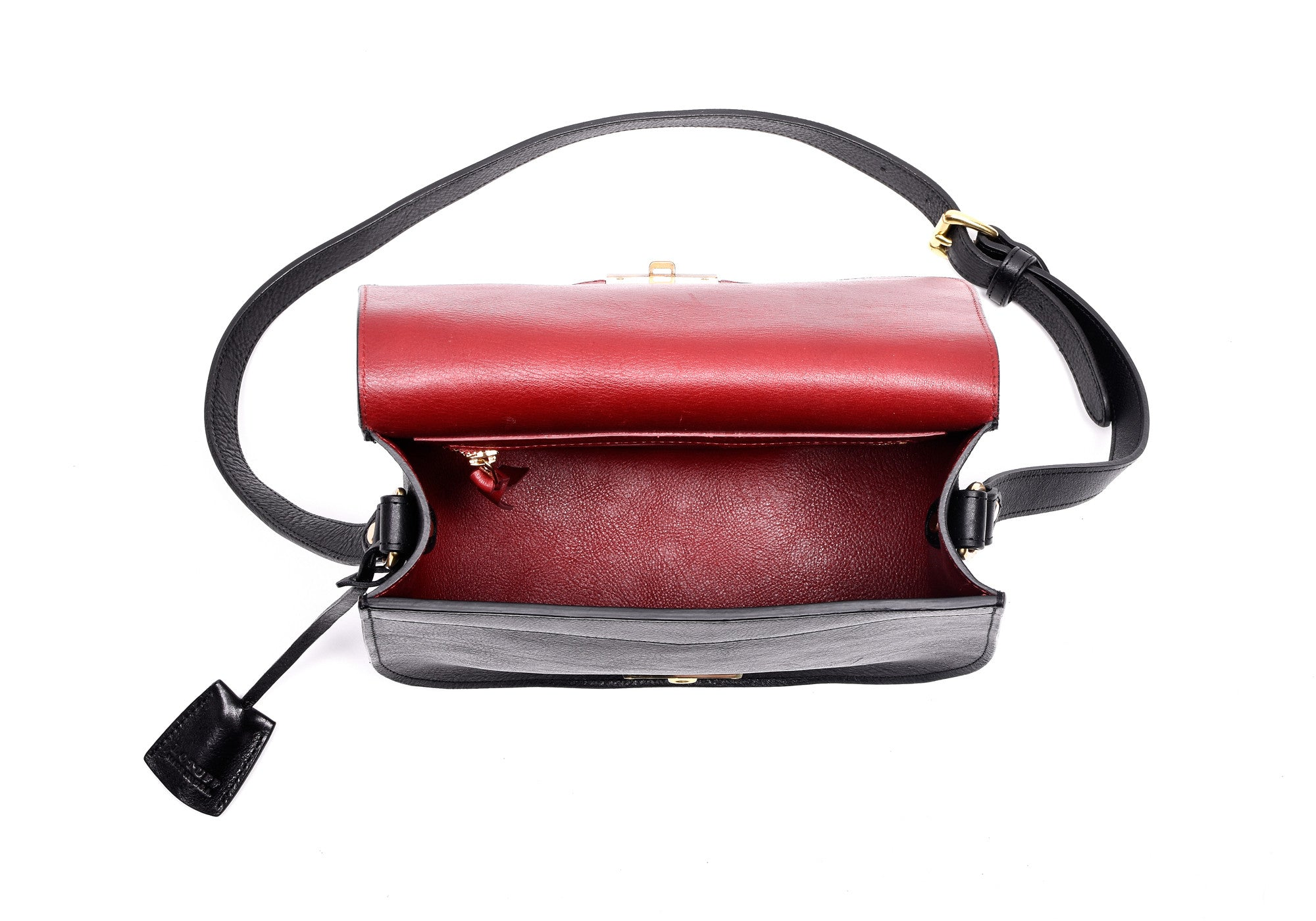 Top Open View of Arc Shoulder Bag Black-Red