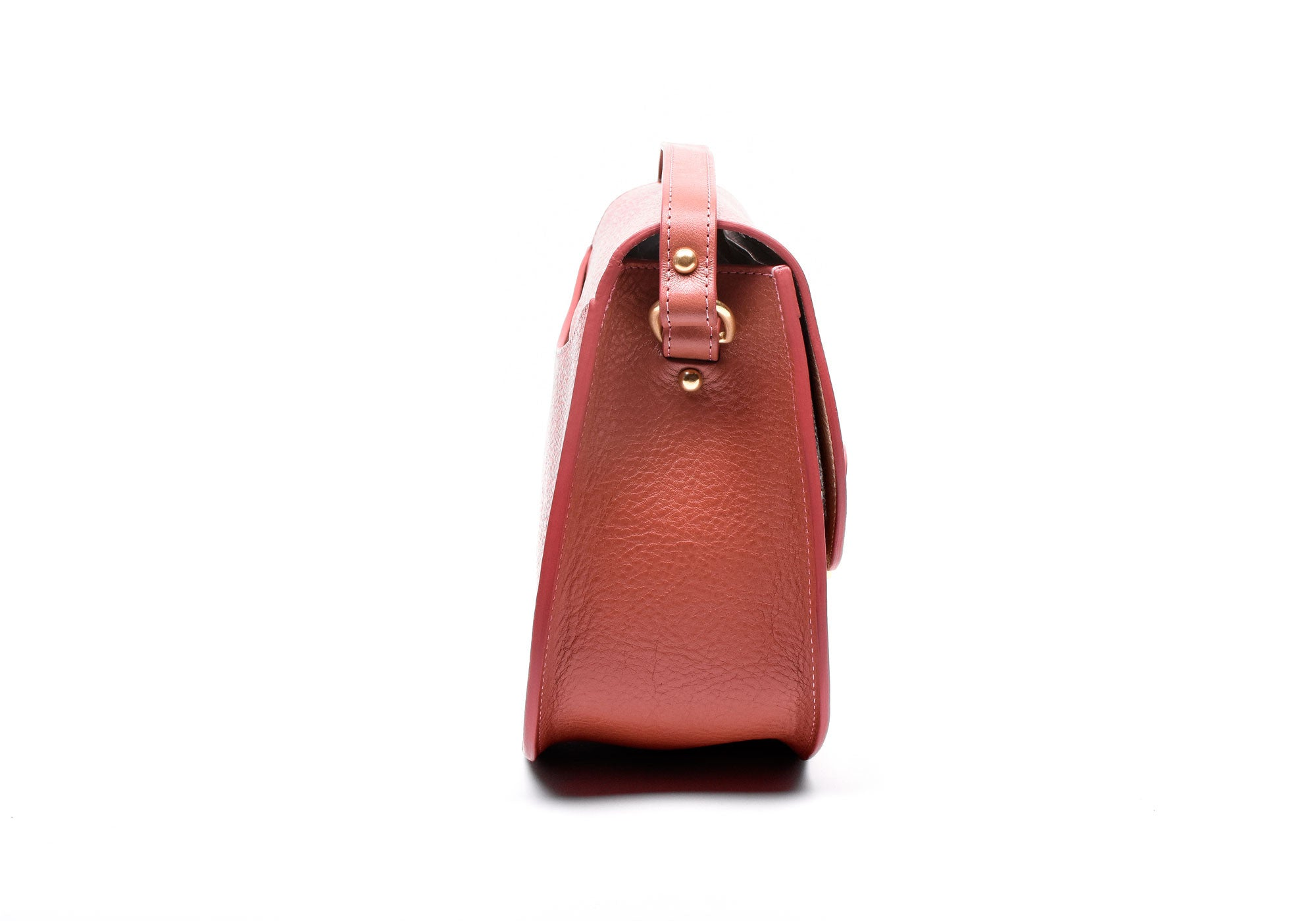 Side View of Arc Shoulder Bag Rosewood-Natural