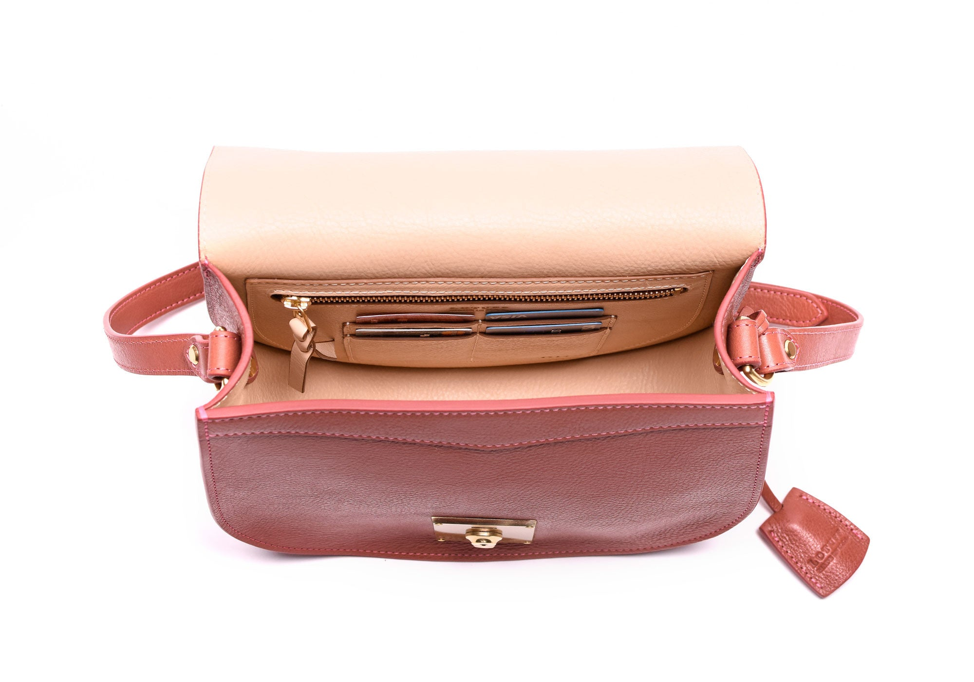 Top Open View of Arc Shoulder Bag Rosewood-Natural