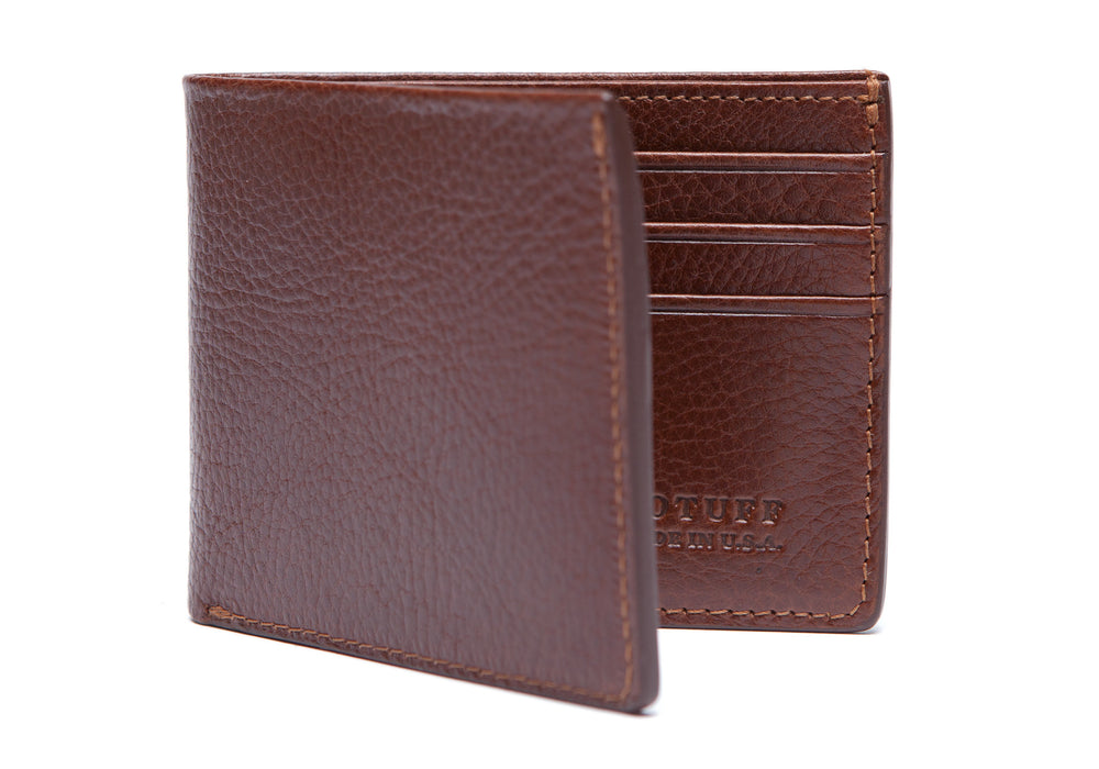 Front View Closed of Leather Bifold Wallet Chestnut