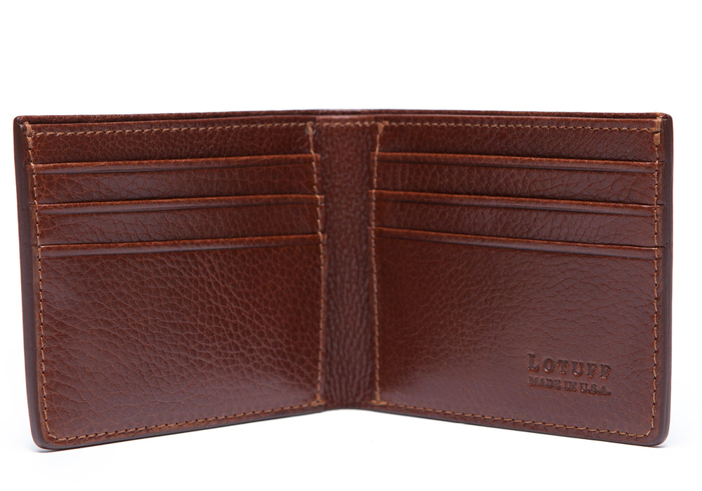 Front View Open of Leather Bifold Wallet Chestnut