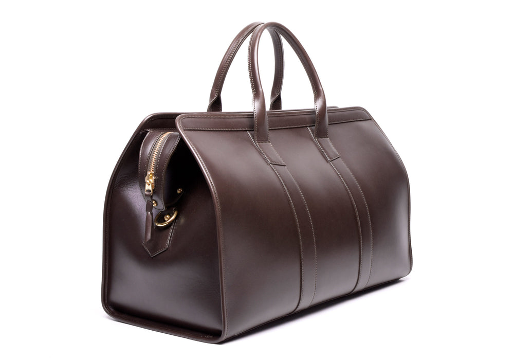 Front Side Angle View of Bridle Duffle Travel Bag Chocolate Bridle