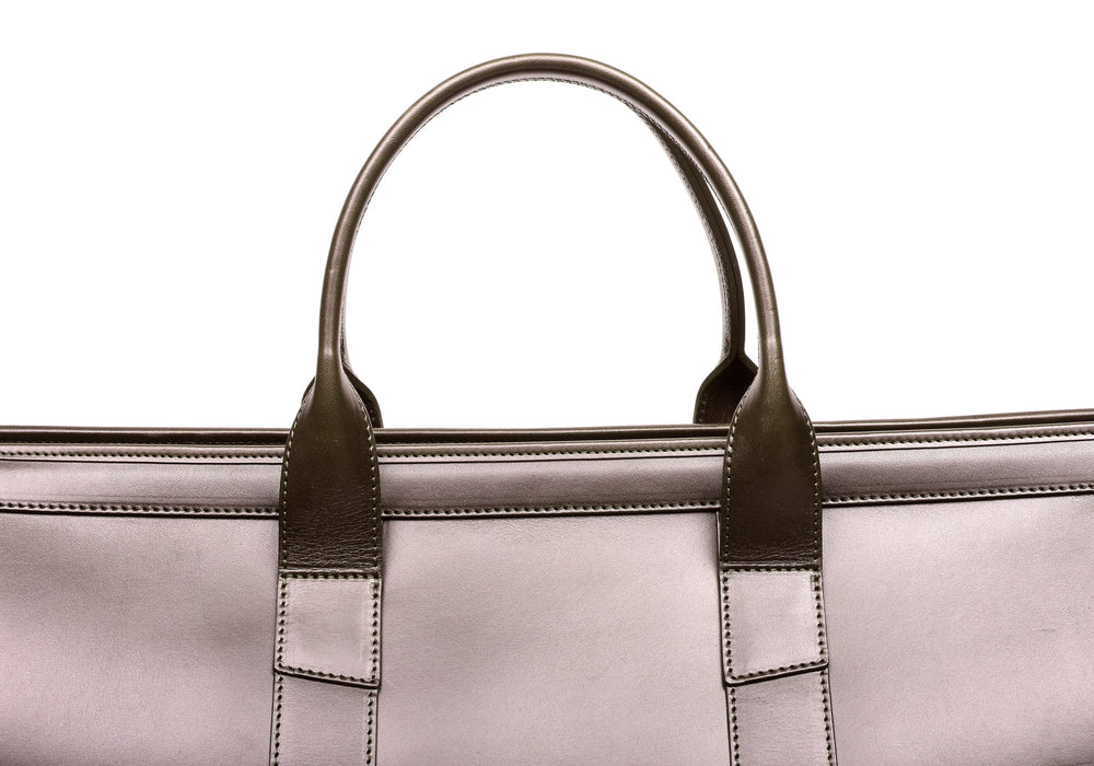 Leather Handle View of Bridle Duffle Travel Bag Chocolate Bridle
