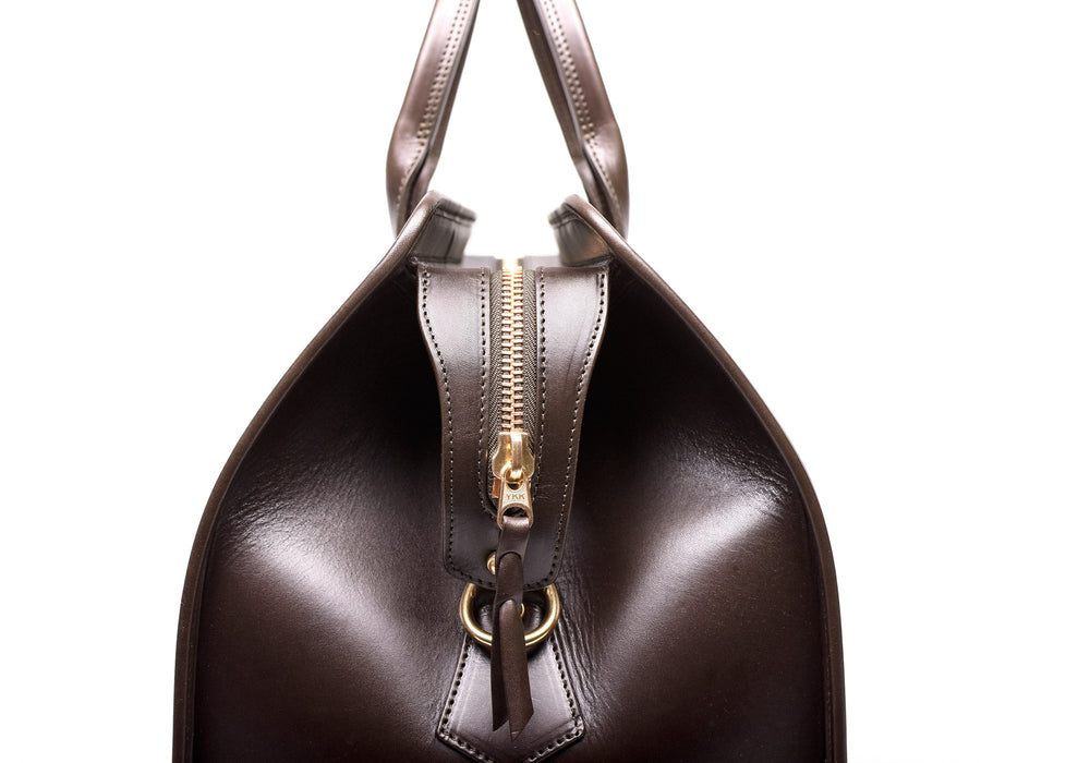 Side View of Bridle Duffle Travel Bag Chocolate Bridle