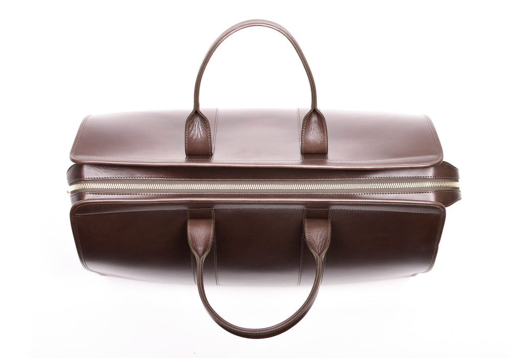 Top Leather Handle of Bridle Duffle Travel Bag Chocolate Bridle