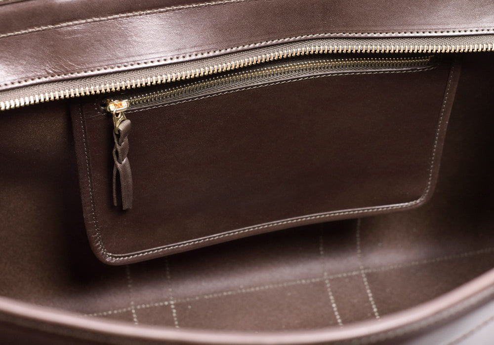 Inner Leather Pocket of Bridle Duffle Travel Bag Chocolate