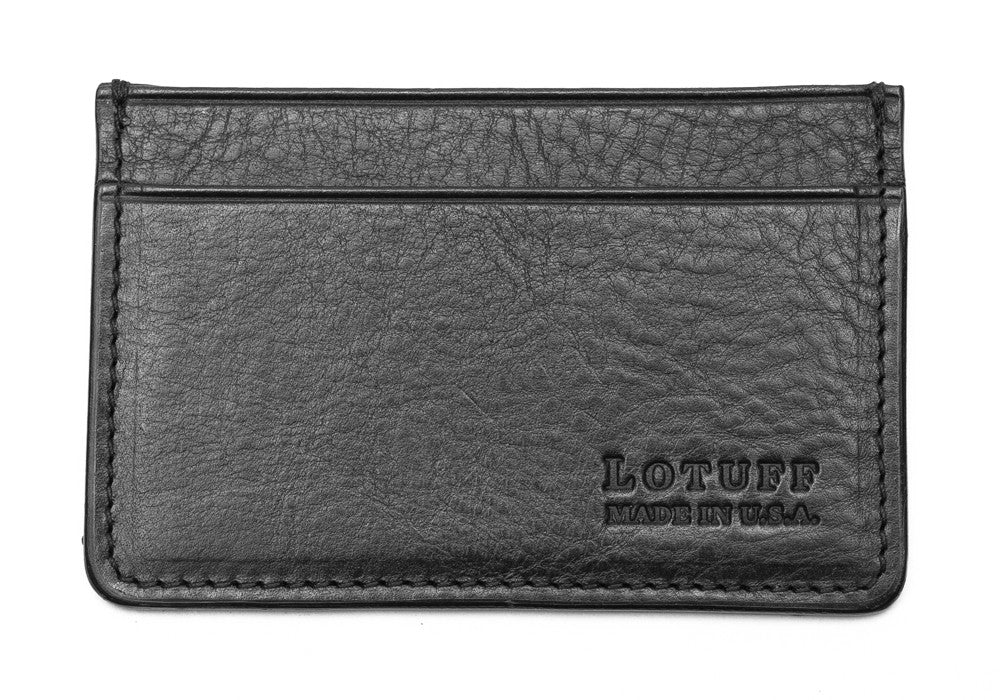 Leather Credit Card Wallet Black|Front View