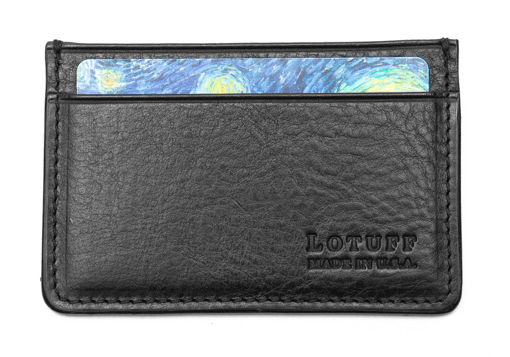 Front View Full of Leather Credit Card Wallet Black